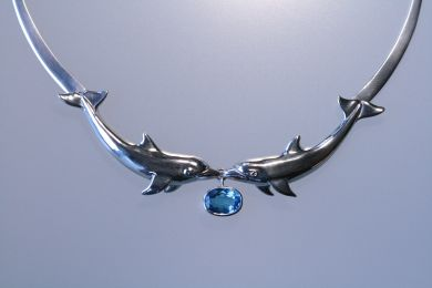 Dolphin and Blue Topaz Collar Necklace