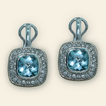 Silver and Gold, Blue Topaz and Diamond Earrings