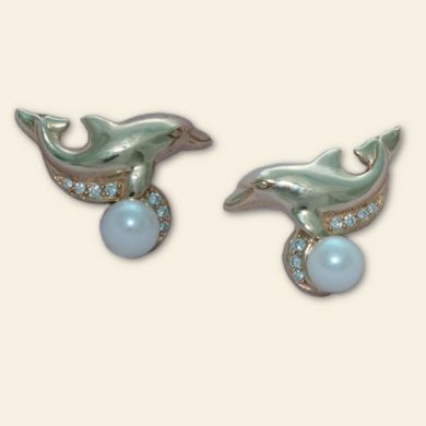 Gold , Diamond and Pearl Dolphin Earrings