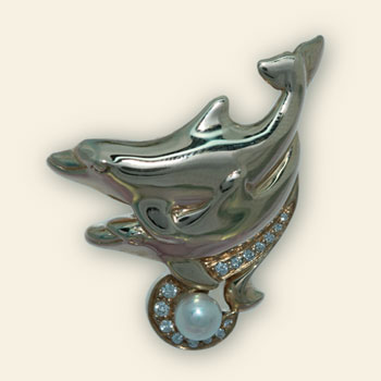 Gold, Diamond and Opal Dolphin Pendant