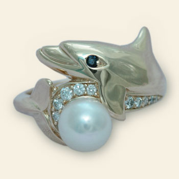 Gold, Diamond and Pearl Dolphin Earrings