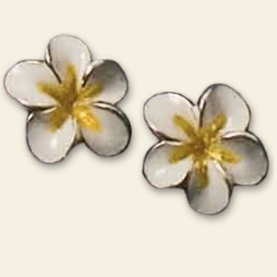 White Plumeria Earrings
