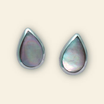 Mother of Pearl and Sterling Silver Tear Drop Earring