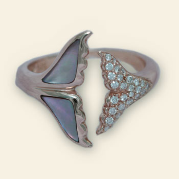 Mother of Pearl and Diamond Whale Tail Ring